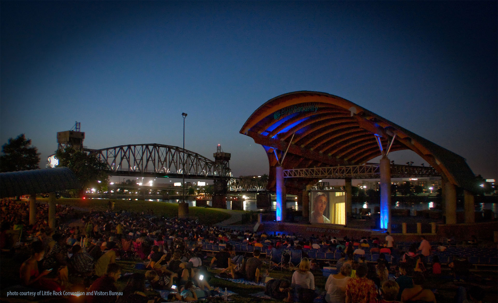 free movies in the park at First Security Amphitheater, Little Rock
